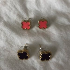 Jewelry - 2 Pairs of Clover Earrings - Dark Eggplant, Coral